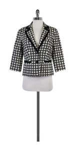 Trina Turk Black White Spotted Geo Print Jacket