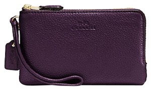 Coach Wallet Pebbled Leather Doublezip Wristlet in Purple