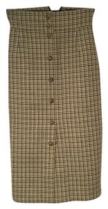 David Meister Midi-length Size 6 Houndstooth Skirt Beige, green and black