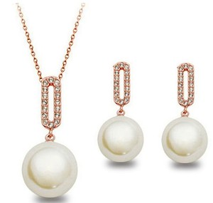 Rose Gold Plated Pearl Drop Necklace Set
