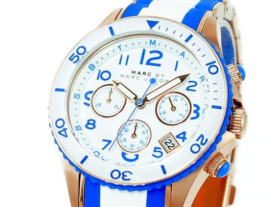 Marc Jacobs Marc By Marc Jacobs MBM2594 Women's Rose Gold White Blue Rock Silicone Wrapped St STeel Chrono Watch