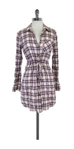 Theory White Pink Plaid Cotton Shirt Dress
