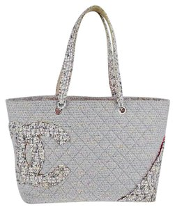 Chanel Tweed Cambon Tote in Gray/Pink