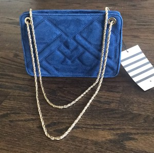 Sézane Leather Suede Gold Hardware Quilted Strap Cross Body Bag
