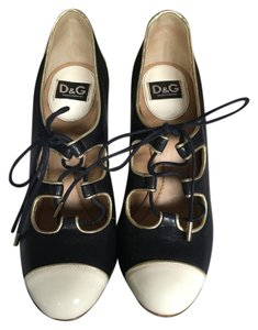 Dolce&Gabbana Lace Up Patent Retro Navy Pumps