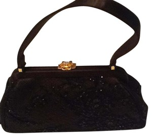 Franchi Evening Formal Evening Brown / black embroidered beads Clutch