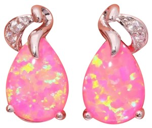 Other pink fire opal Stamped 925 Sterling Silver Gemstone stud earrings new without tags