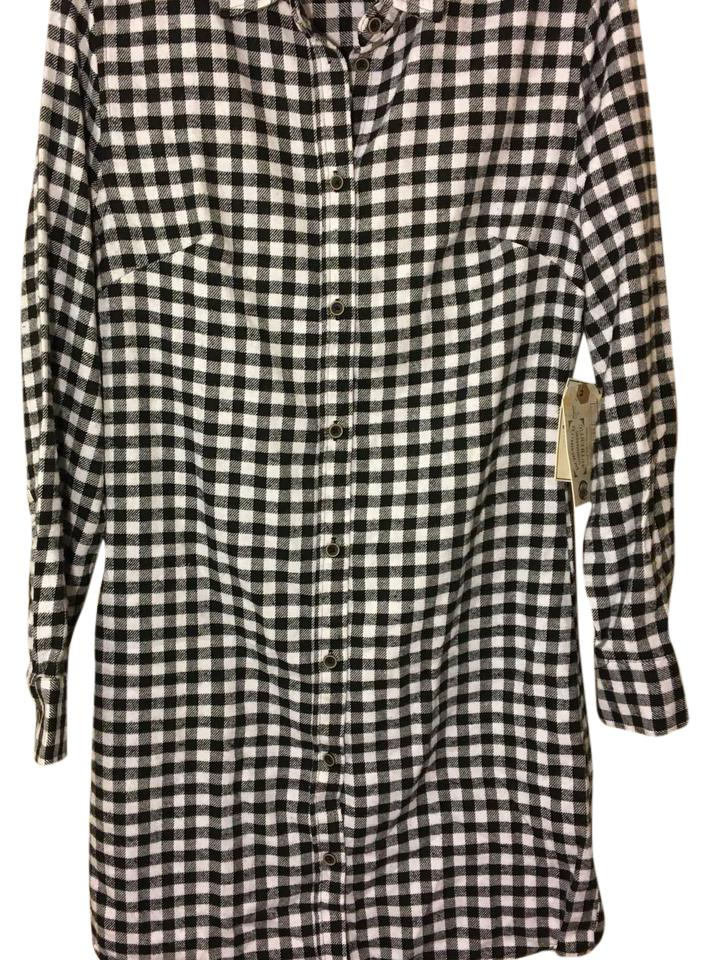 4a6d280f8d44be JACHS Black Manufacturing Co. Flannel White Shirt Small Maternity Dress