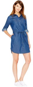 Maison Jules short dress Blue Long Sleeve Woven on Tradesy