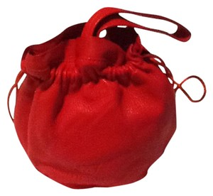 Elegant Junction Drawstring Pouch Hand Leather Wristlet in Orange/Red Leather