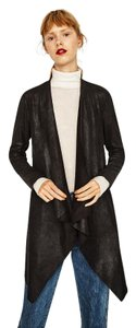 Zara Suede Leather Draped Stretchy Night Out Leather Jacket