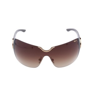Chopard NEW SCH883 300 Women Wrap-Around Shield 23KT Brown Sunglasses