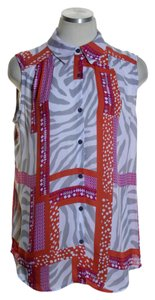 JM Collection Woven Printed Sleeveless Tunic