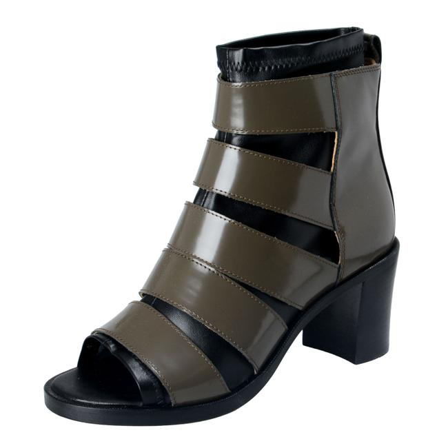 Item - Olive Green / Black Women's Leather High Heel Ankle Boots/Booties Size US 7 Regular (M, B)