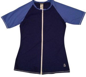 Tommy Bahama Colorblocked Deck Piping Rash Guard Front Zipper Short Sleeve Surf