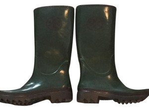 Tory Burch Rain green and navy Boots