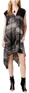 Rachel Roy short dress Black Multi Printed V-neck Asymmetrical Hem Cap Sleeve Shift on Tradesy