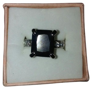 Other Size Eight Silver Plated Ring With Black Square Gemstone