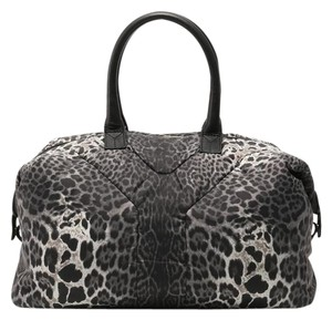 Saint Laurent Ysl Tote Ysl Animal Print Satchel in Gray, Black