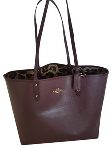 Coach Animal Print Tote in Oxblood