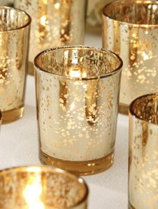 Z Gallerie Gold Mercury 12 Glass Votive/Candle