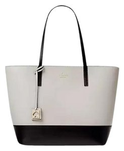 Kate Spade Leather New With Tags Tote in Stone Ice/Black