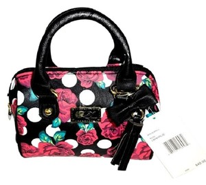 Betsey Johnson Mini Barrel Floral Black Cross Body Bag