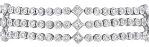 Other 7.84 Ct. Natural Diamonds Tri Bracelet Design Princess/Rounds 18k Whit