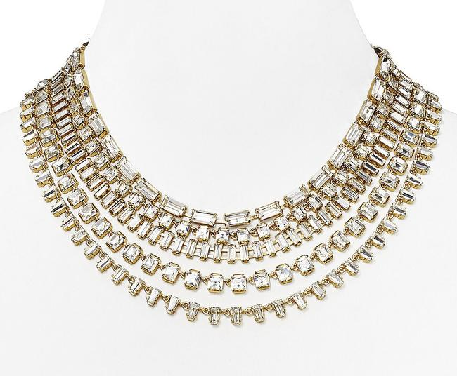 Item - 12k Gold Plate with Faceted Glass Baguettes & Emerald Cut Gems Classic Vegas Multi-strand Make A Statement Or Add Mystery Under A Collar ** Necklace