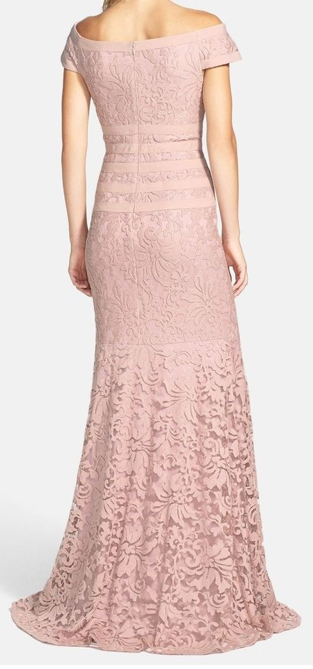 Tadashi Shoji Antique Pink Textured Lace Mermaid Gown Long Formal ...