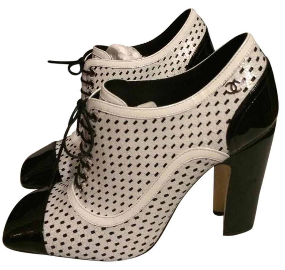 a744ee3d29c Chanel Black White Patent Perforated Lace Up Ankle Heels Boots Booties Boots  Booties