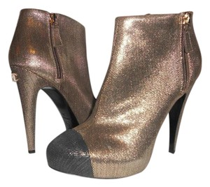 Chanel Cap Toe Gold Crystal Gold/Black Boots