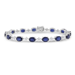 Other 14.53 Ct. Natural Diamond & Oval Sapphire Tennis Bracelet In Solid 14k