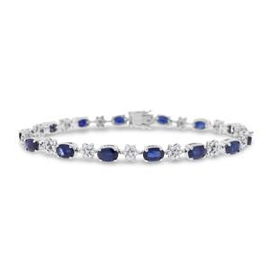 Other 9.10 Ct. Natural Diamond & Sapphire Star Tennis Bracelet In Solid 14k