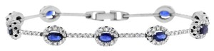 Other 3.75 Ct. Natural Diamond & Oval Halo Sapphire Bracelet In Solid 14k