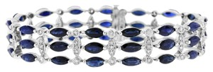 Other 23.19 Ct. Natural Marquise Sapphire & Diamond Wide Bracelet Solid 14k