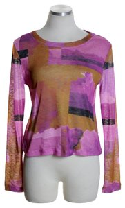 Bar III Long Sleeve Knit Print T Shirt Pink Multi