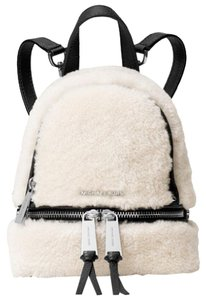 Michael Kors Rhea Zip Black Natural Fur Backpack