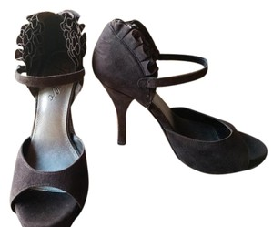 Fergie Ruffled Ankle Detail Straps Brown Pumps