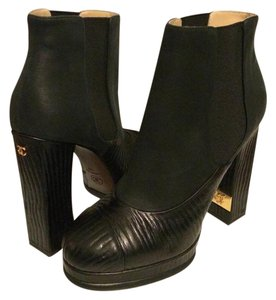 Chanel Cc Waxed Platform Suede Black Boots