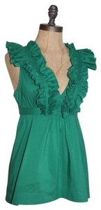 BCBGMAXAZRIA Ruffle Kelly Top GREEN