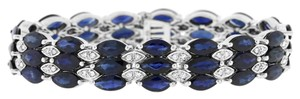 Other 35.96 Ct. Natural Diamond & Sapphire Marquise Wide Triple Row Bracelet