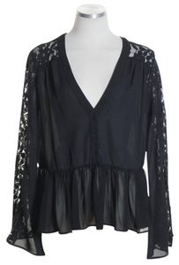 Bar III Long Sleeve Sheer Lace Top Black