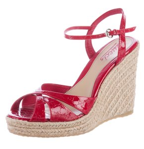 Gucci Gg Peep Toe Silver Hardware Ankle Strap Beige, Red Wedges
