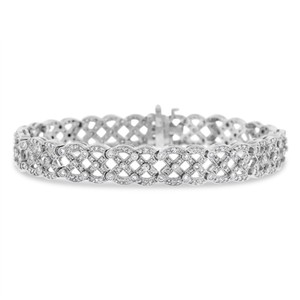Other 4.50 Ct. Natural Diamond Intertwined Wide Fancy Bracelet In Solid 14k