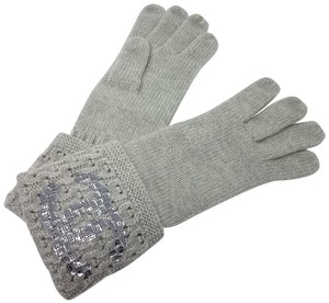 Chanel Grey Chanel sequin interlocking CC logo cashmere knit gloves