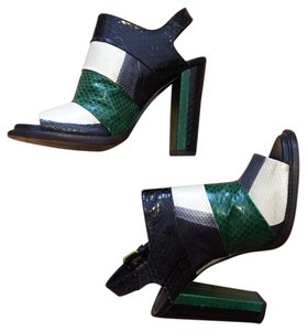 Dries van Noten black green cream grey Pumps