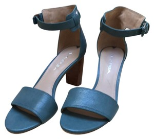 Via Spiga Ankle Strap Silver Hardware Chunky teal Sandals