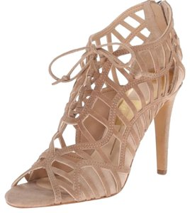 Dolce Vita Lace Up Suede Nude Heels Beige Sandals