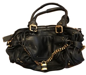 Chloé Kid Leather Lock Chain & Key Excellent Condition Studded Satchel in Black